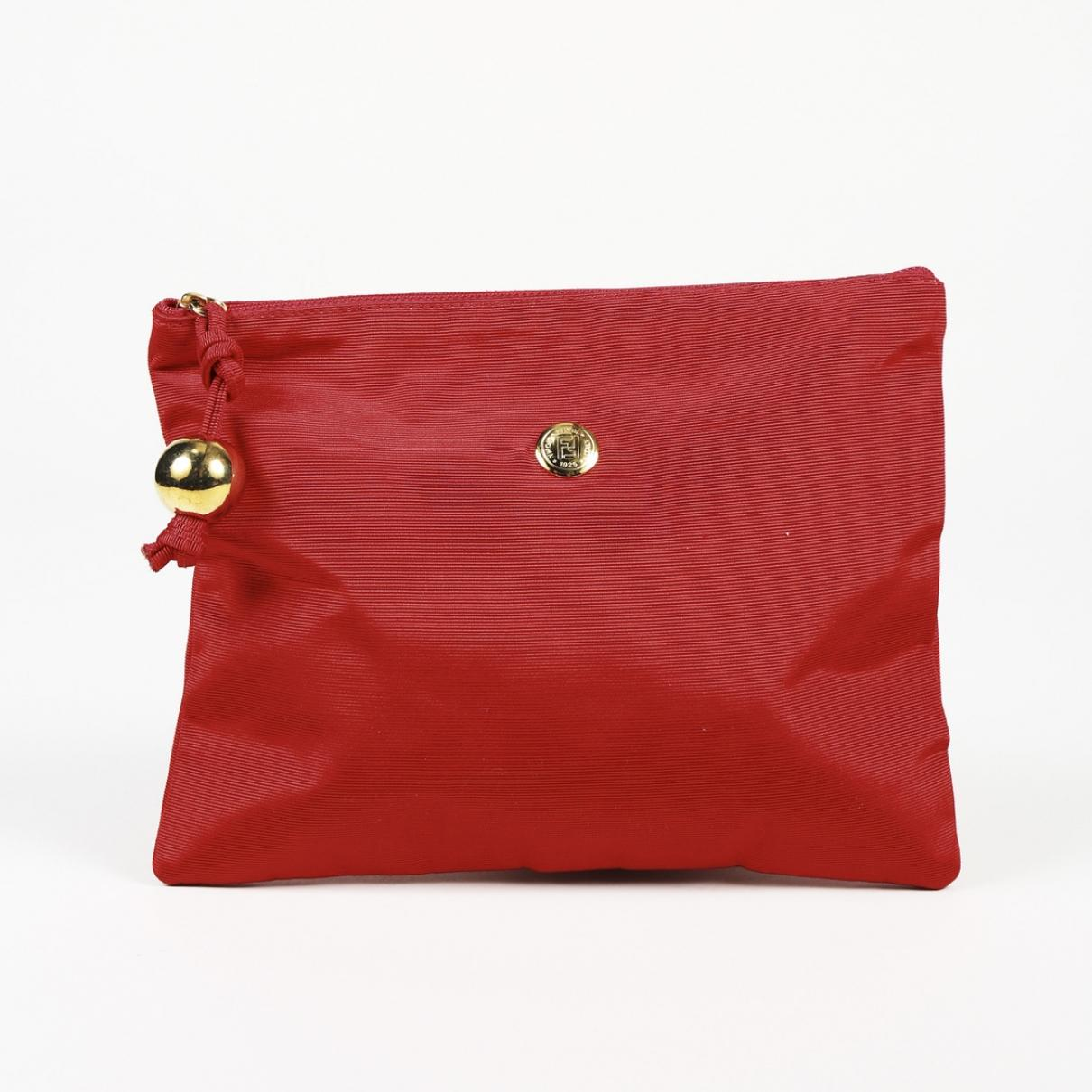 f3437cc21d81 Lyst - Fendi Pre-owned Vintage Red Cloth Clutch Bags in Red