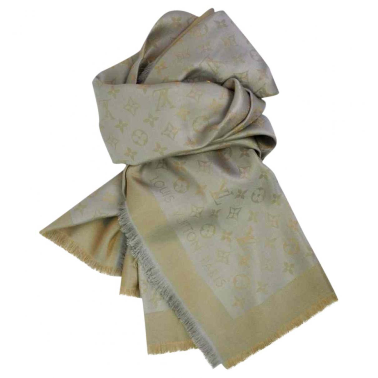 ac52da994d71 Louis Vuitton Pre-owned Châle Monogram Shine Grey Silk Scarves in ...