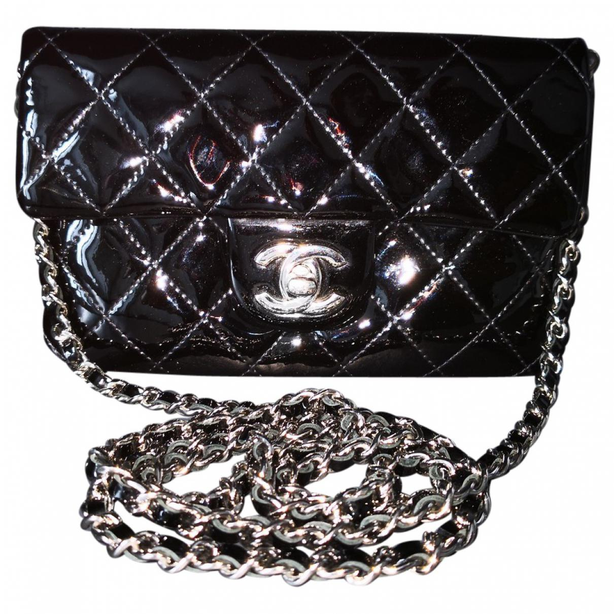 614ea6c6d8c0 Lyst - Chanel Timeless Patent Leather Crossbody Bag in Black