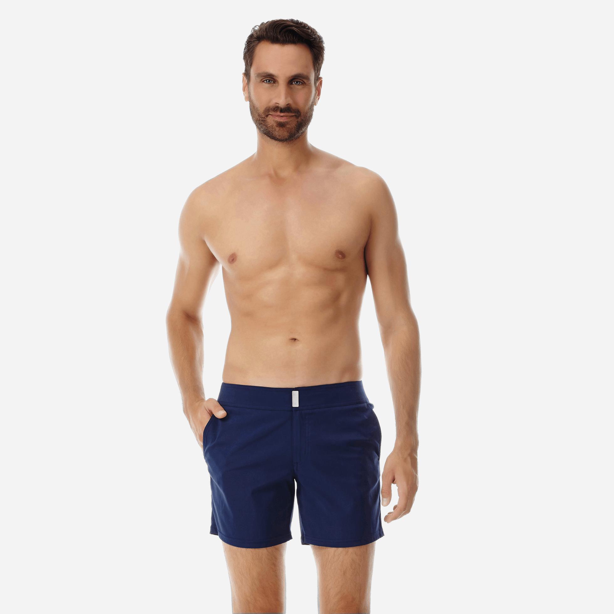 69211e1011 Vilebrequin Men Flat Belt Stretch Swimtrunks Solid in Blue for Men ...