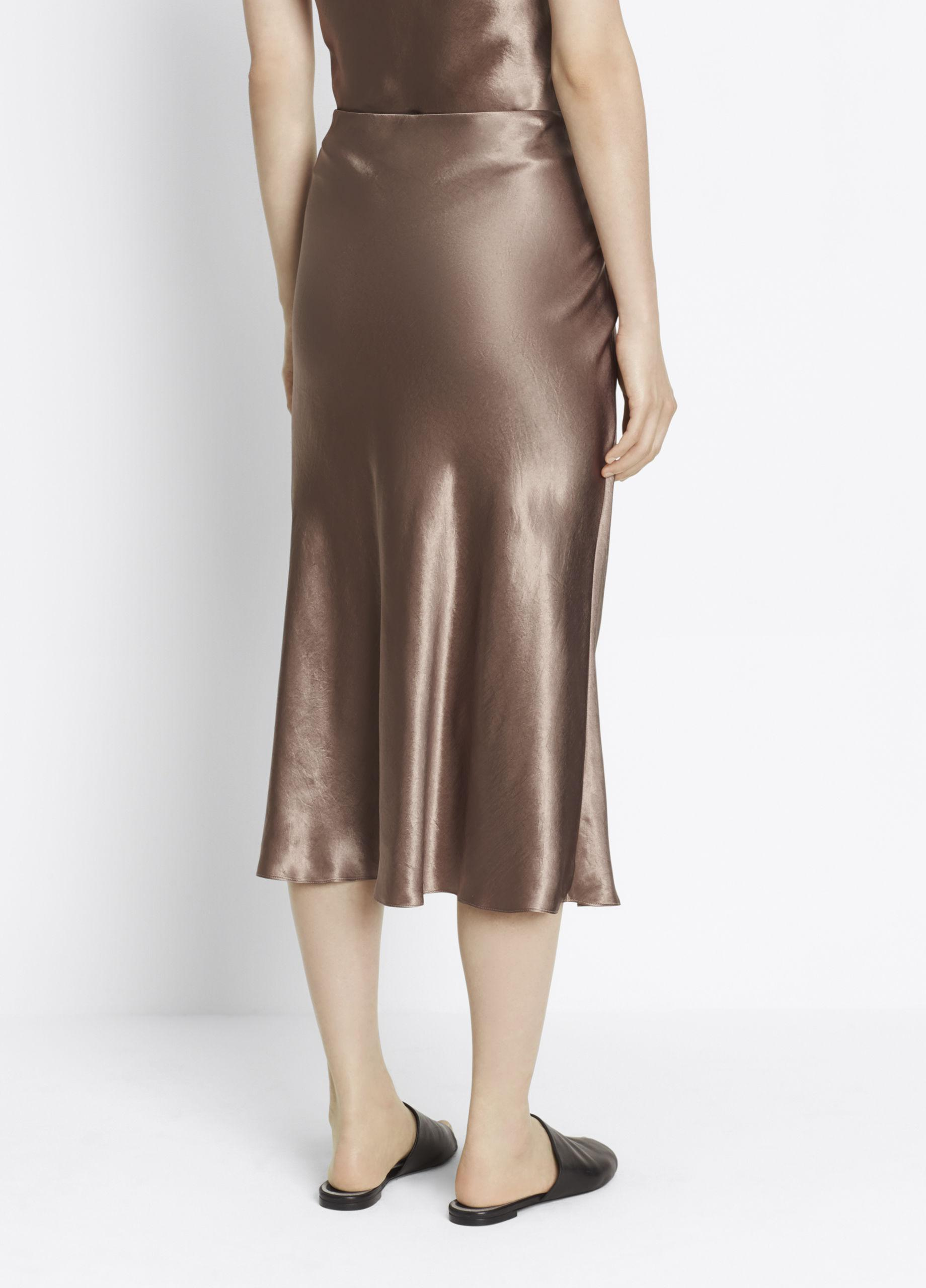 Lyst Vince Satin Skirt In Brown