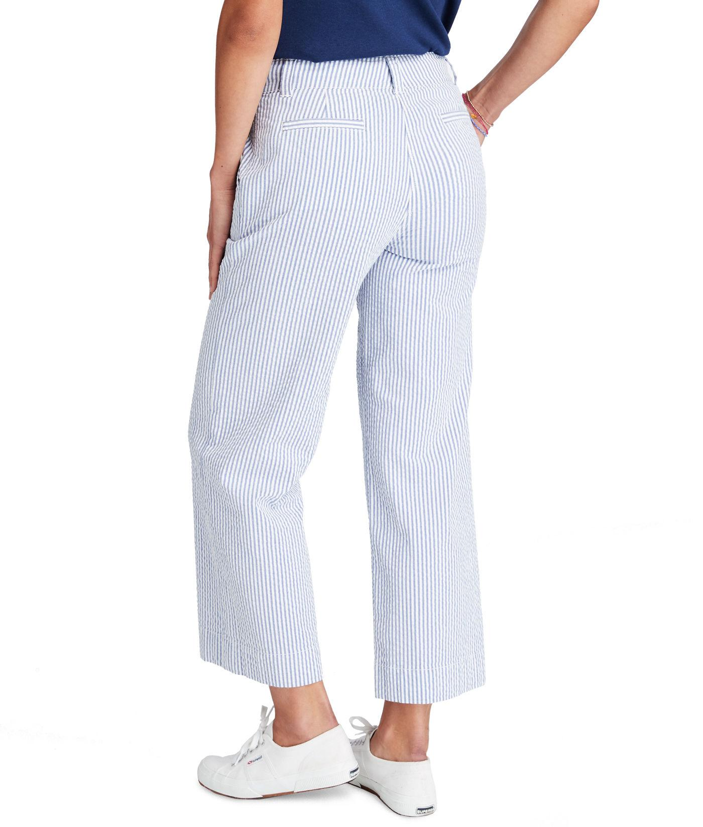 08a998e3776a Lyst - Vineyard Vines Seersucker High Waist Cropped Pants in Blue