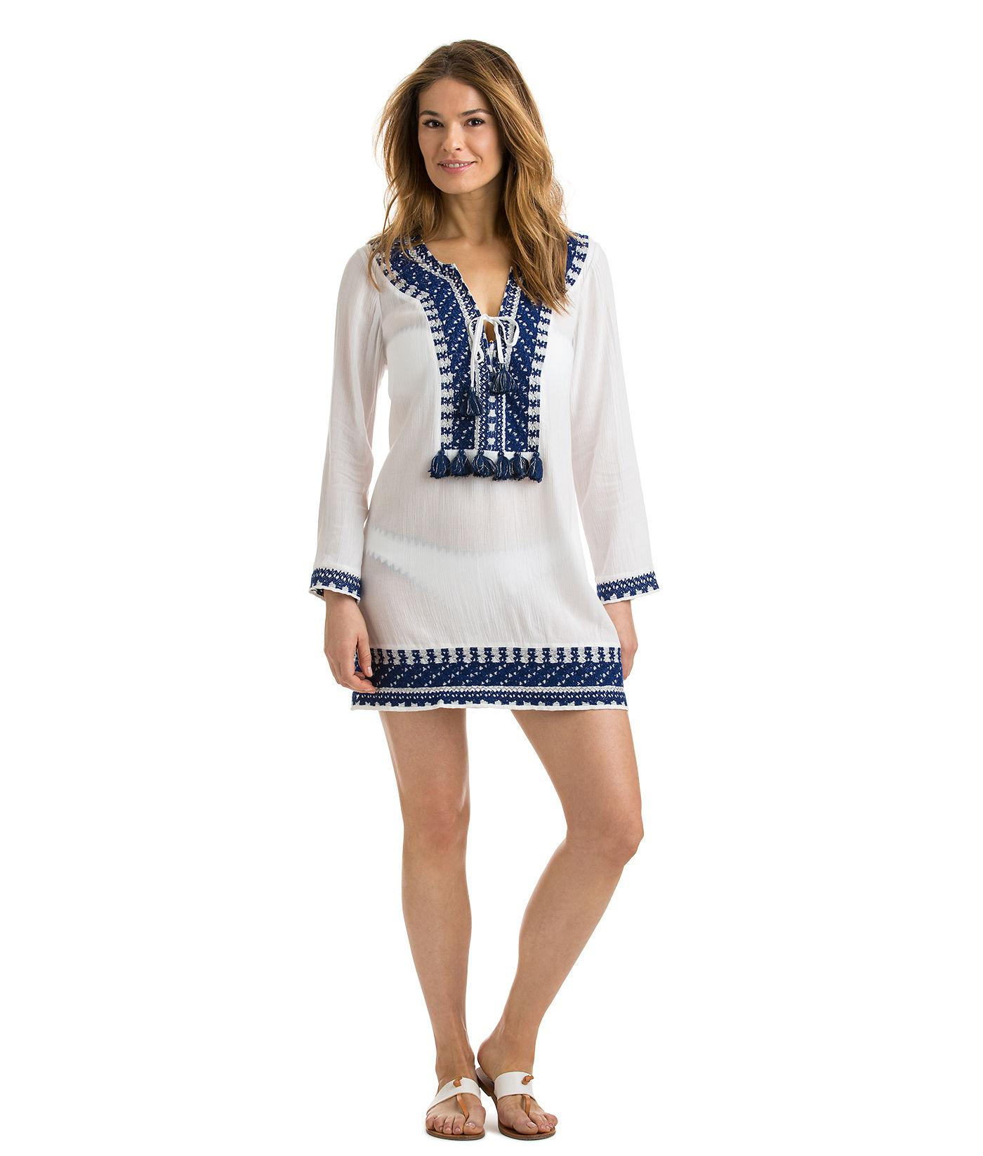37d5850876 Vineyard Vines Solid Embroidered Tassel Cover-up in White - Lyst