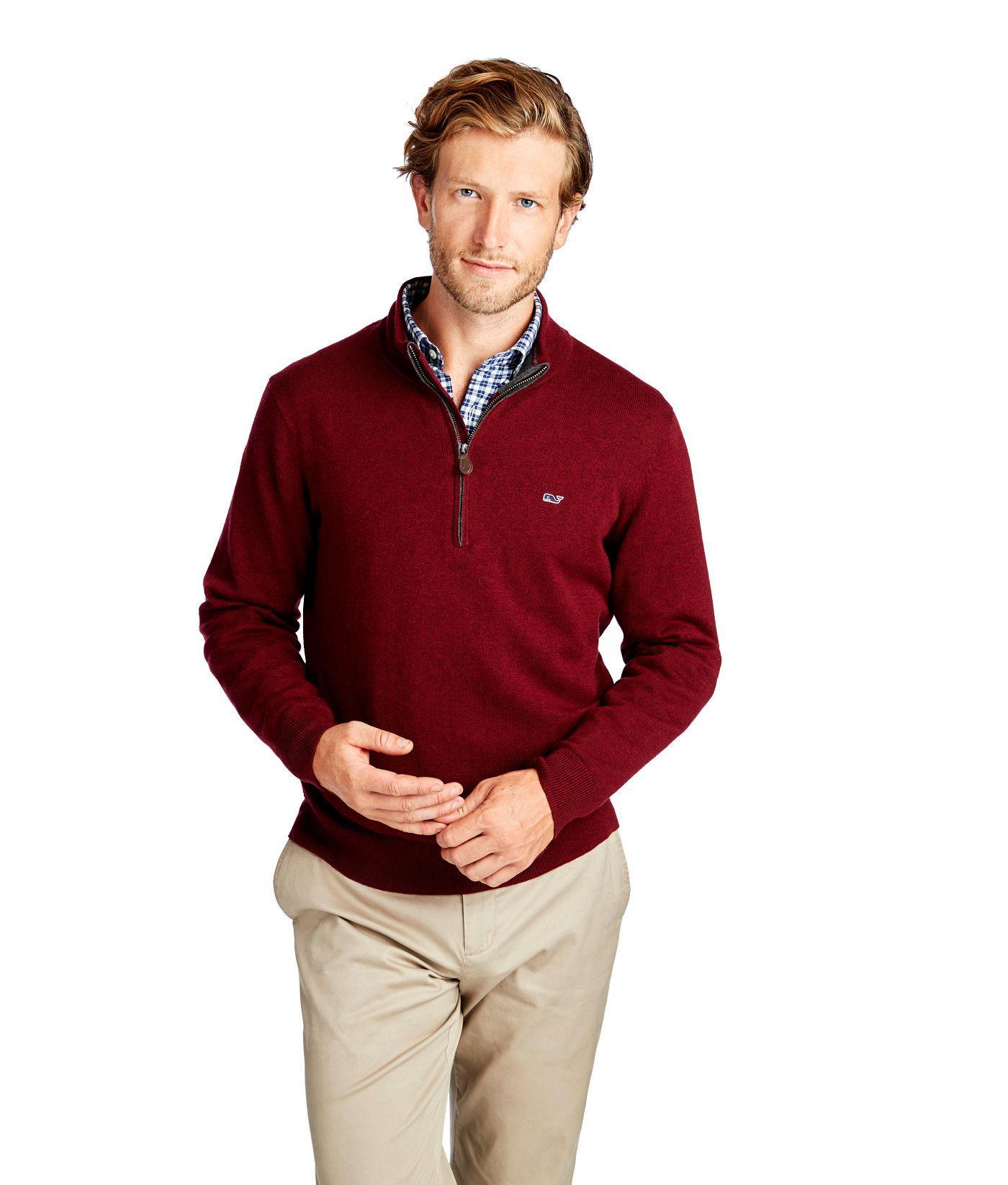 3d97e10df Lyst - Vineyard Vines Palm Beach Cotton-cashmere 1 4-zip Sweater in ...