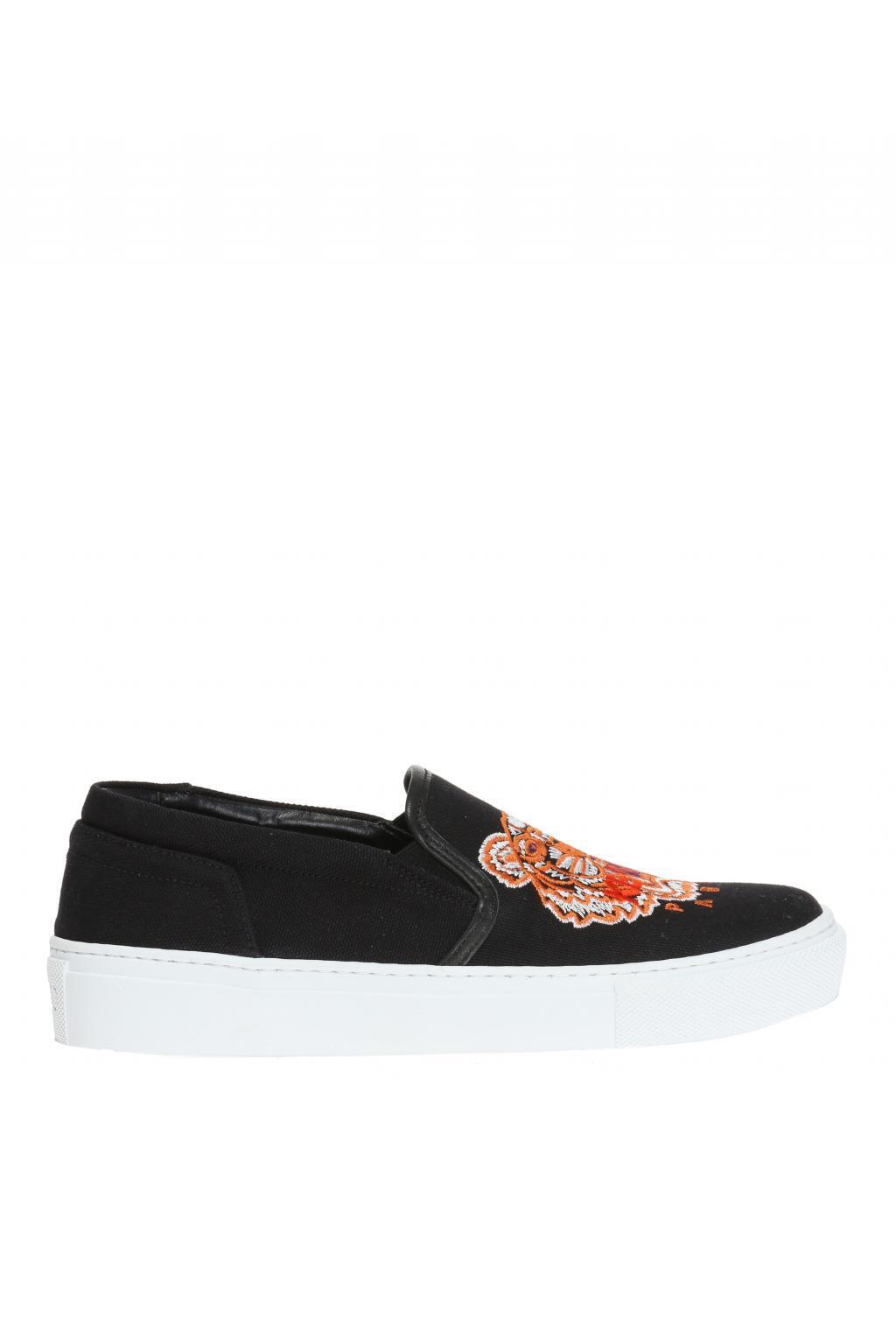 KENZO. Women's Black 'tiger' Platform Slip-on Sneakers