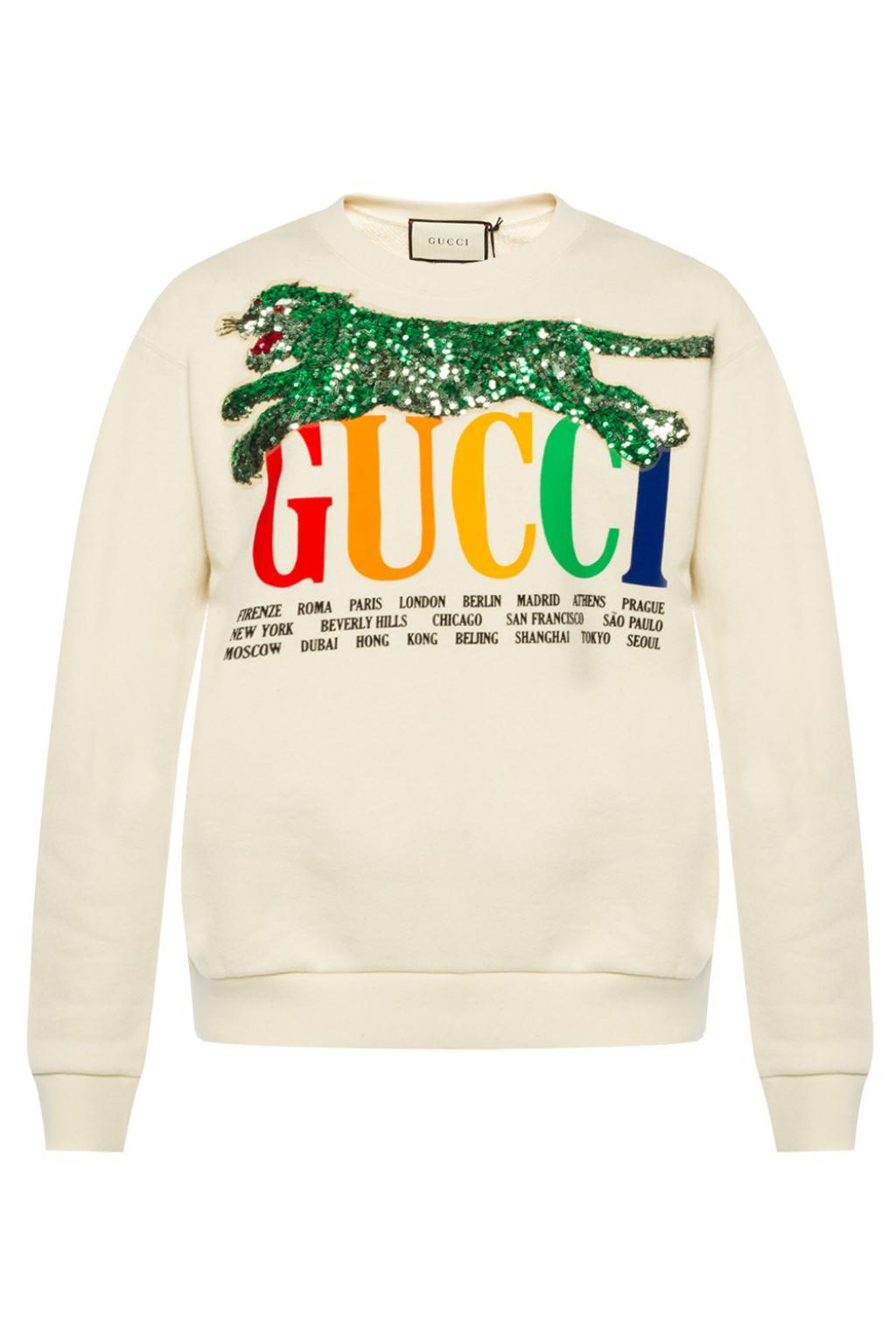 d719a8dd23 Lyst - Gucci Oversized Embellished Printed Cotton-terry Sweatshirt ...