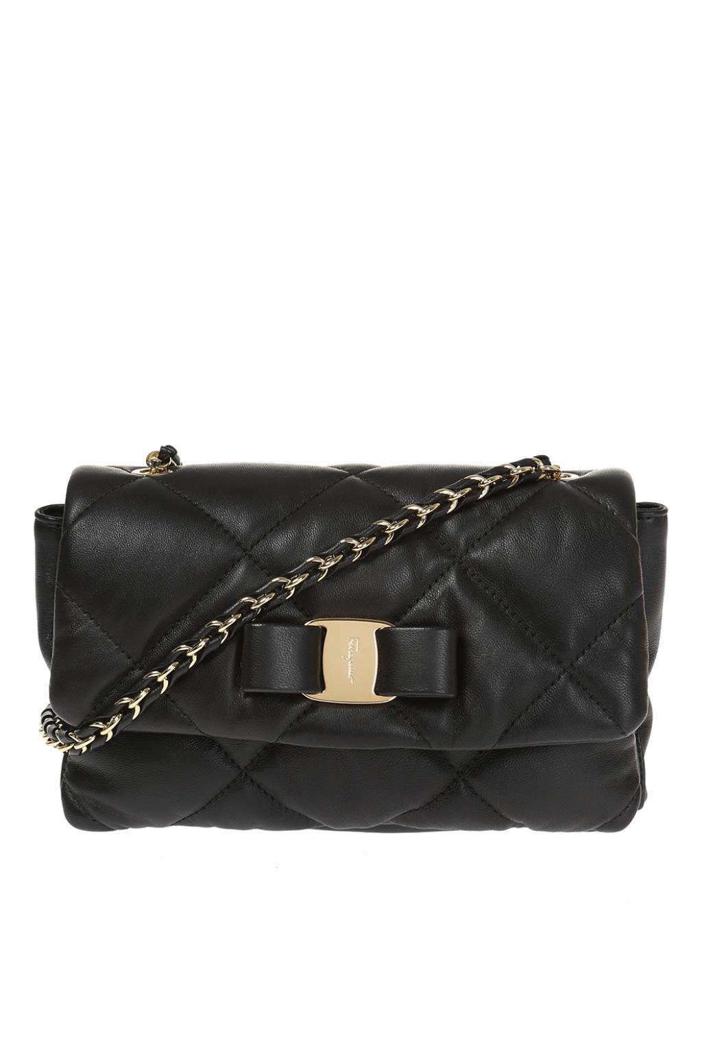Womens Black Gelly Clutch newest 0c93b 548d6  Ferragamo - Gancini Leather Shoulder  Bag - Lyst official photos 4efaf ... 7863680dab886