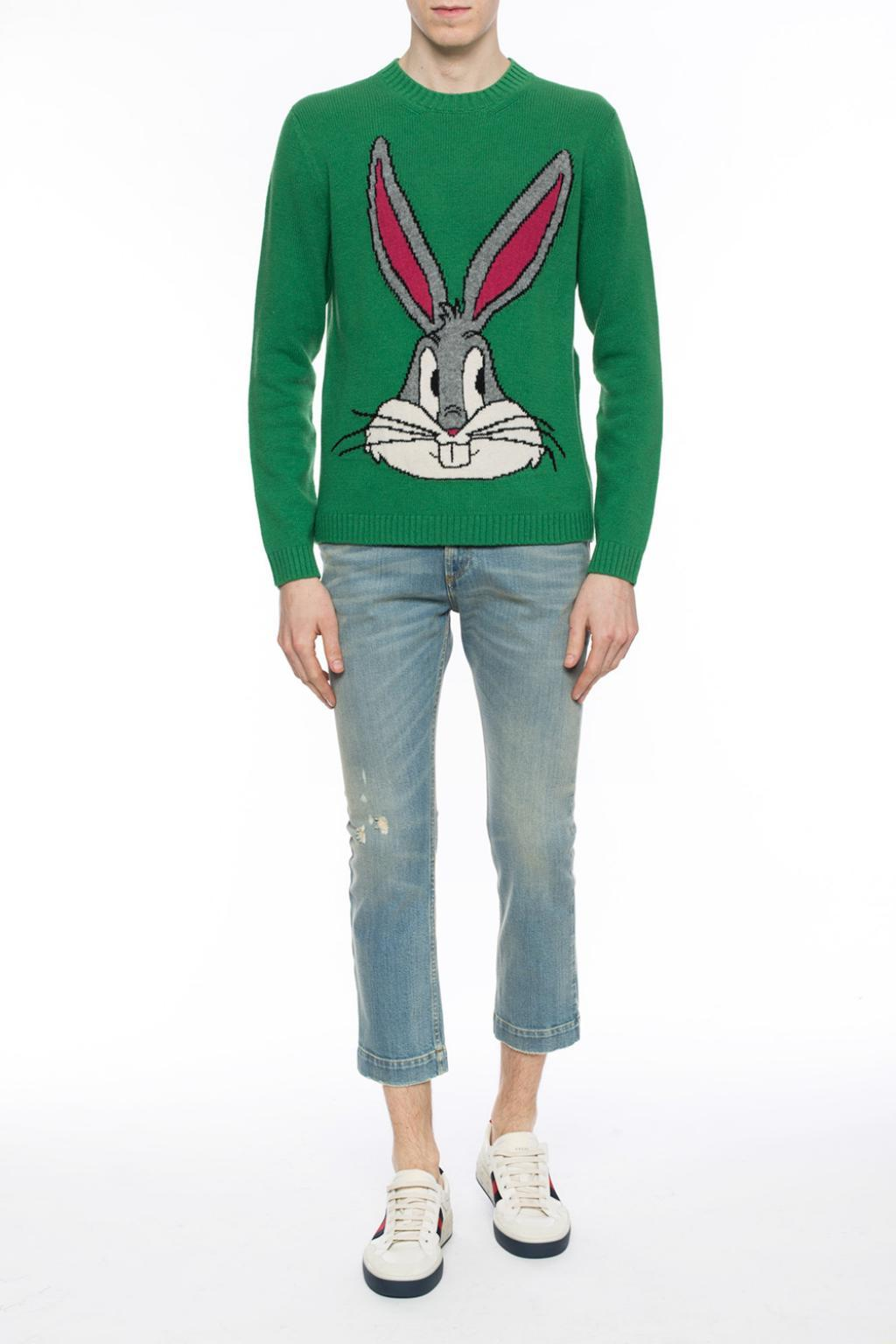 28c37a31 Gucci 'bugs Bunny' Sweater in Green for Men - Lyst
