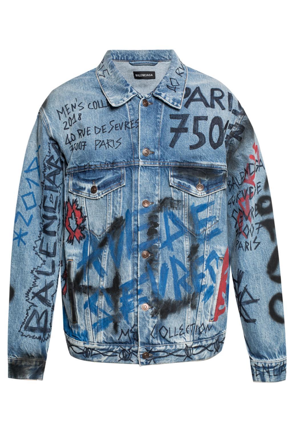 91746634b8b Lyst - Balenciaga Graffiti Denim Jacket in Blue for Men - Save 33%