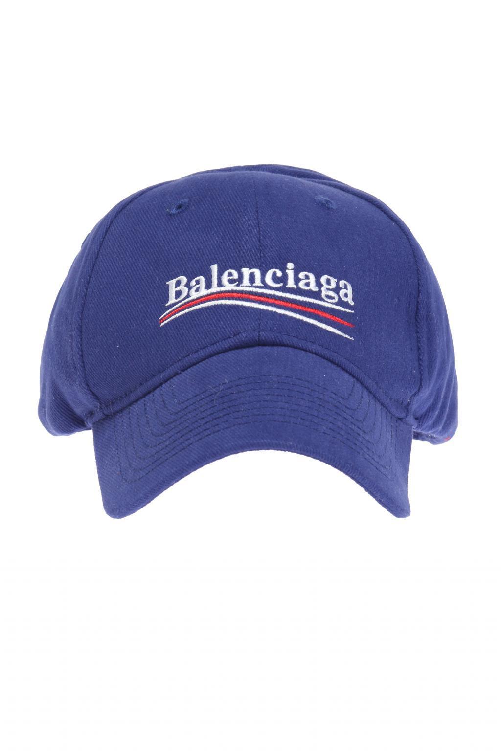 80e0577d48f Balenciaga - Blue Logo-embroidered Baseball Cap for Men - Lyst. View  fullscreen