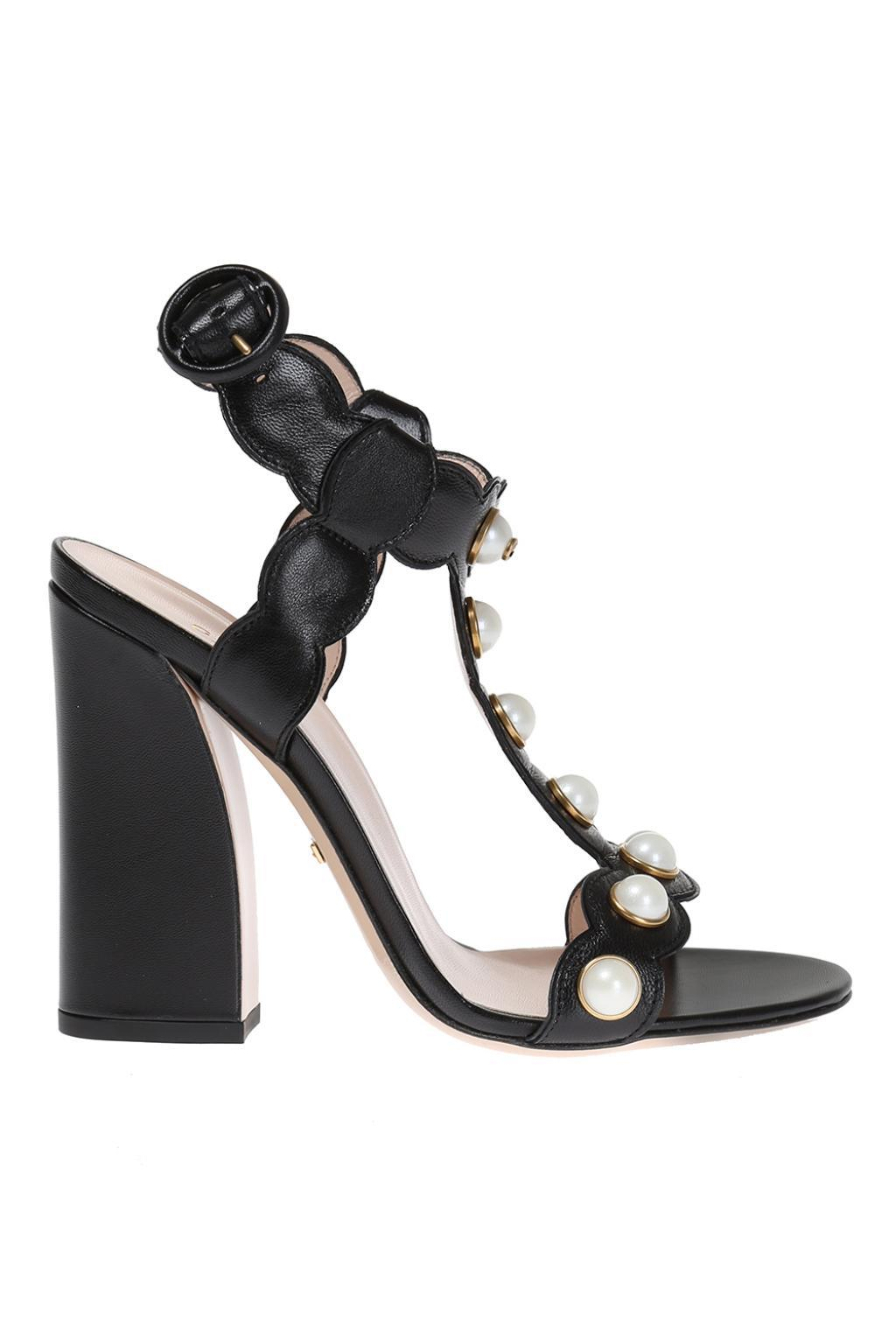 672067ec9a36 Lyst - Gucci  willow  Heel Sandals in Black