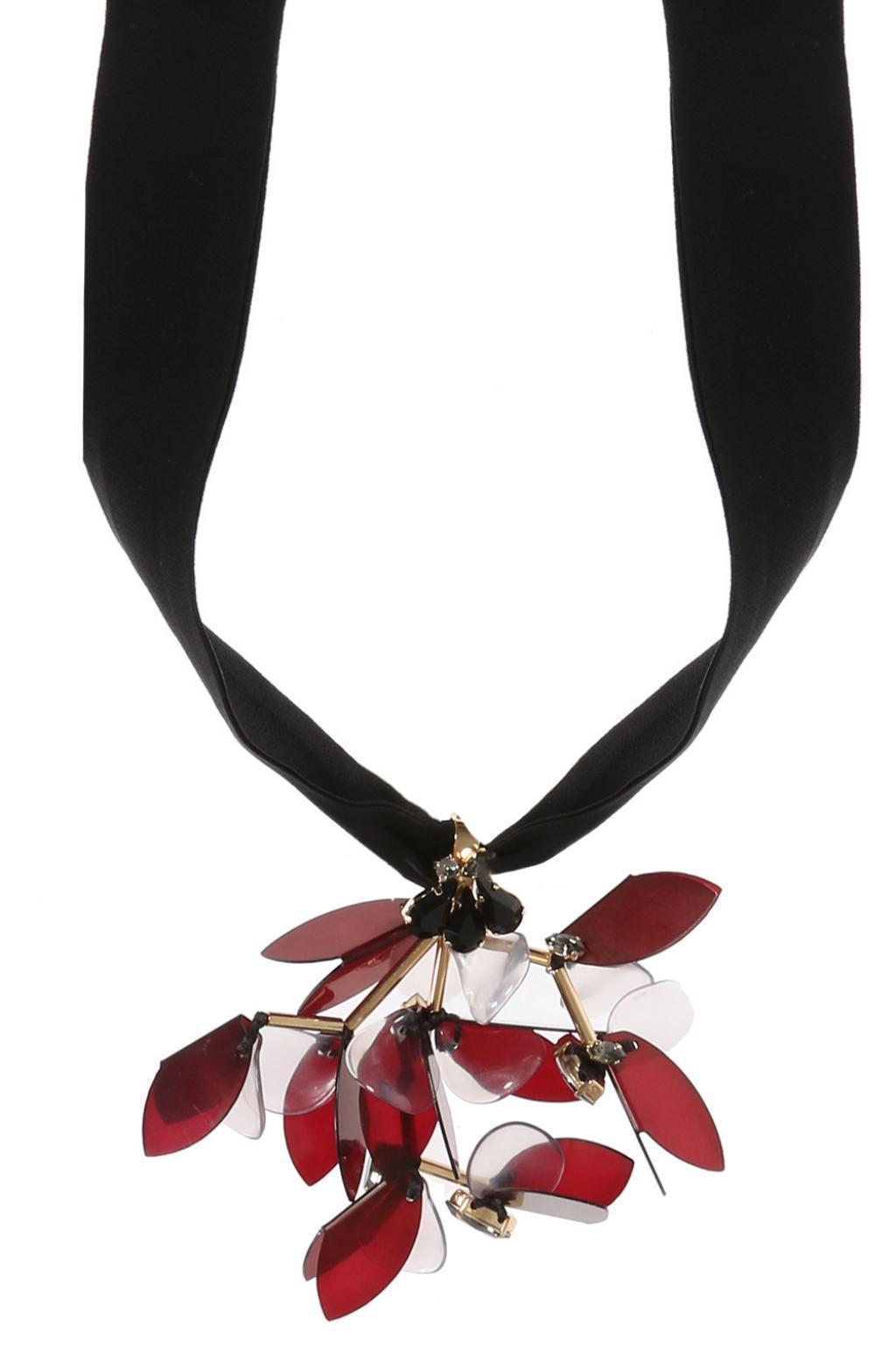 Floral leather-petal self-tie necklace Marni 58BuouC5B