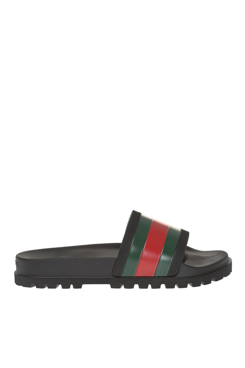 4802709aab78 Lyst - Gucci Striped Web Rubber Slides in Black for Men - Save 30%