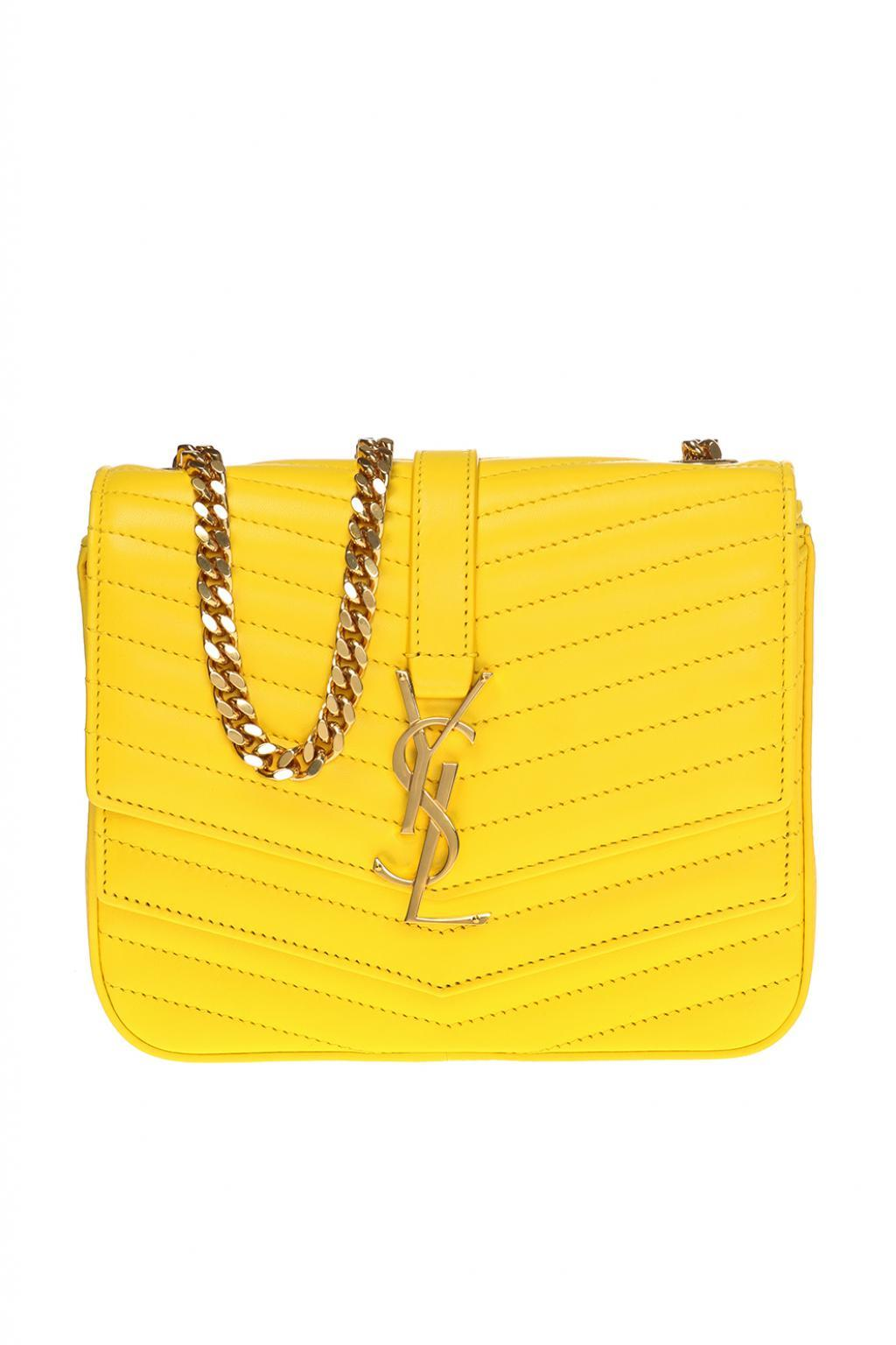 2e0b5c4fa7 Saint Laurent 'sulpice Monogram' Quilted Shoulder Bag in Yellow - Lyst