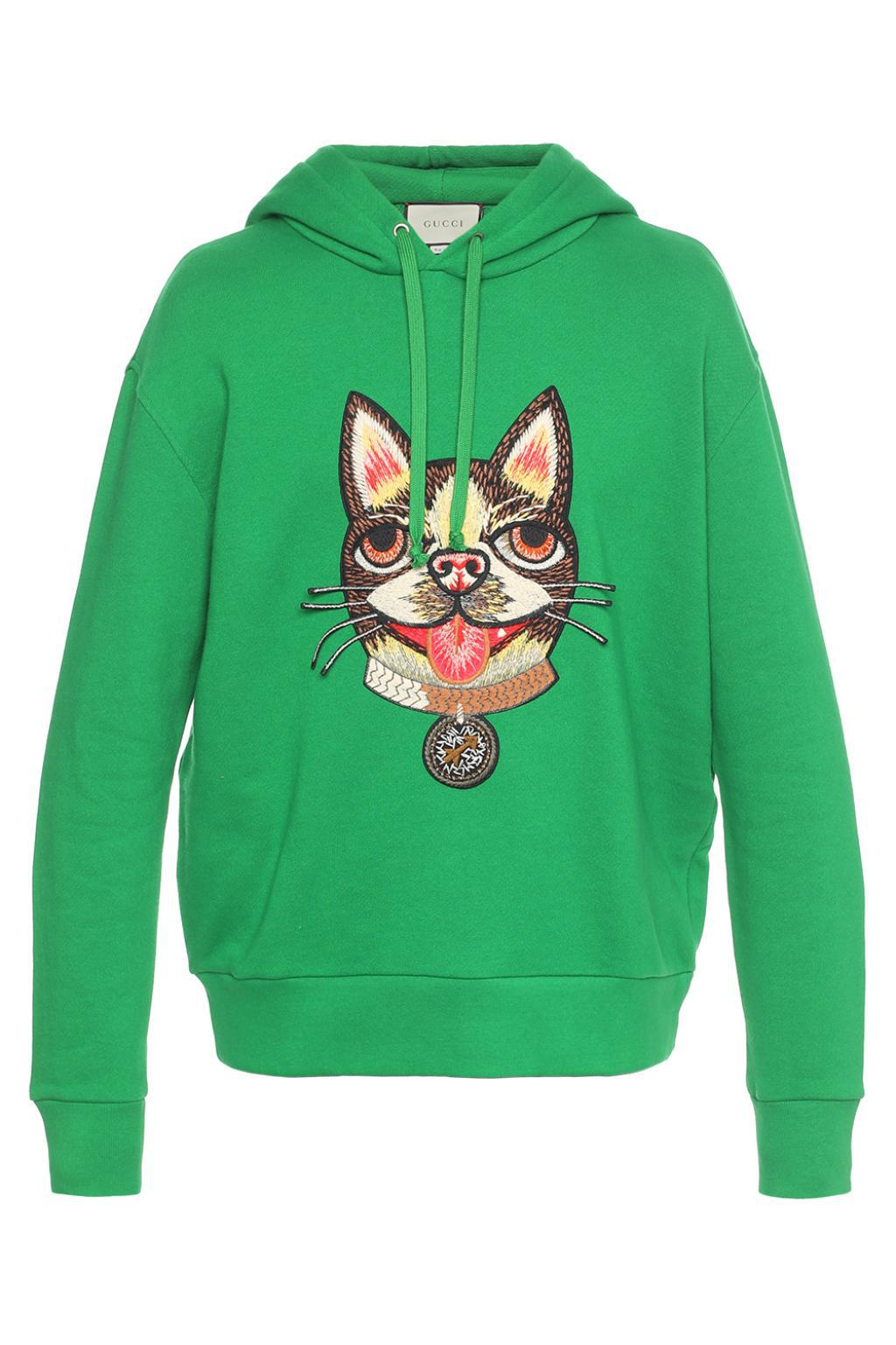 b3ac1153 Gucci Cat Head-sewn Sweatshirt in Green for Men - Lyst