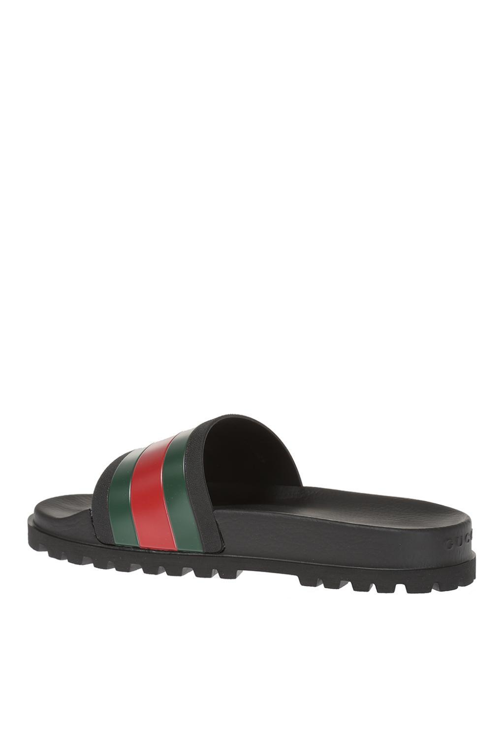 8400157a1565 Gucci - Black Striped Web Rubber Slides for Men - Lyst. View fullscreen