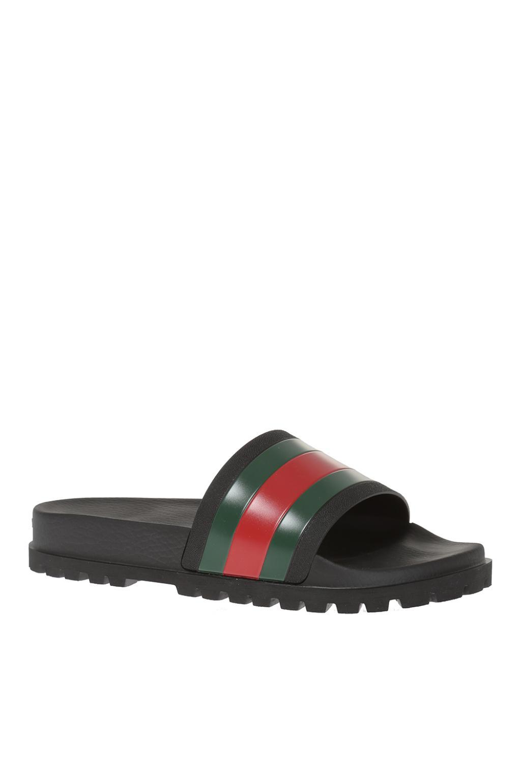 2df44a99785279 Gucci - Black Striped Web Rubber Slides for Men - Lyst. View fullscreen