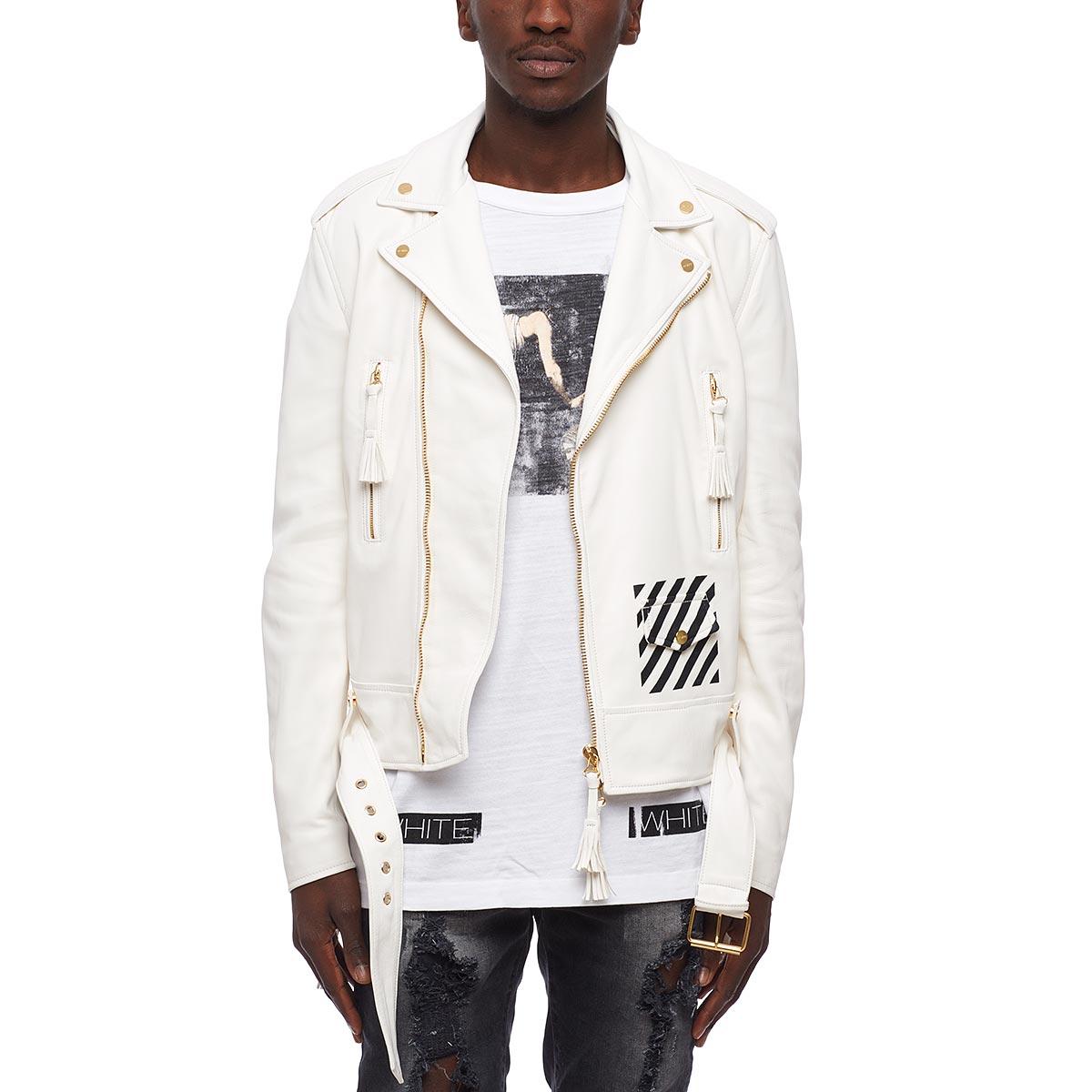 off white c o virgil abloh striped detail biker jacket in. Black Bedroom Furniture Sets. Home Design Ideas