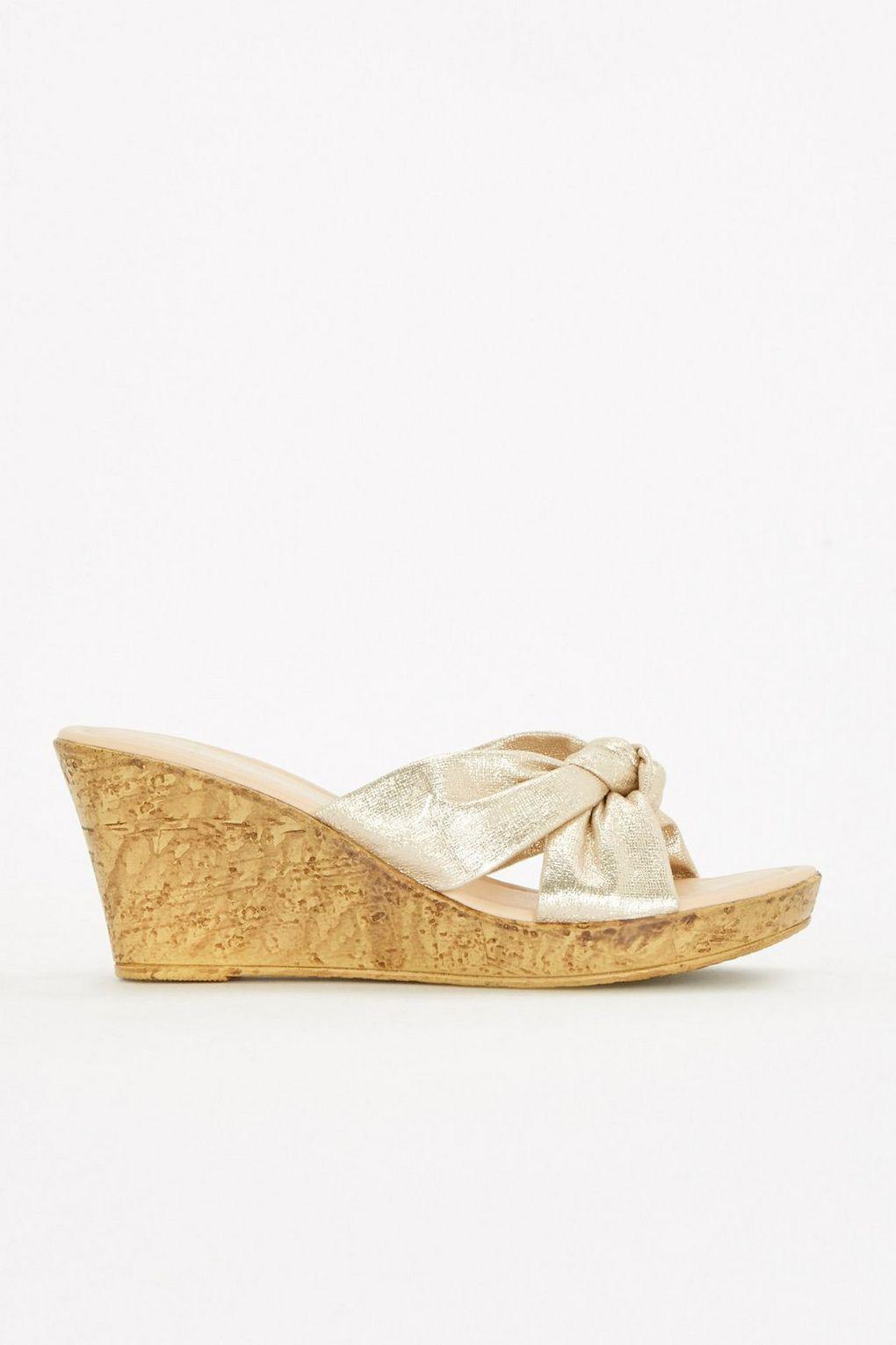 buy cheap the cheapest Gold knot detail unit wedge discount official site outlet good selling best prices sale online pZWSTNH