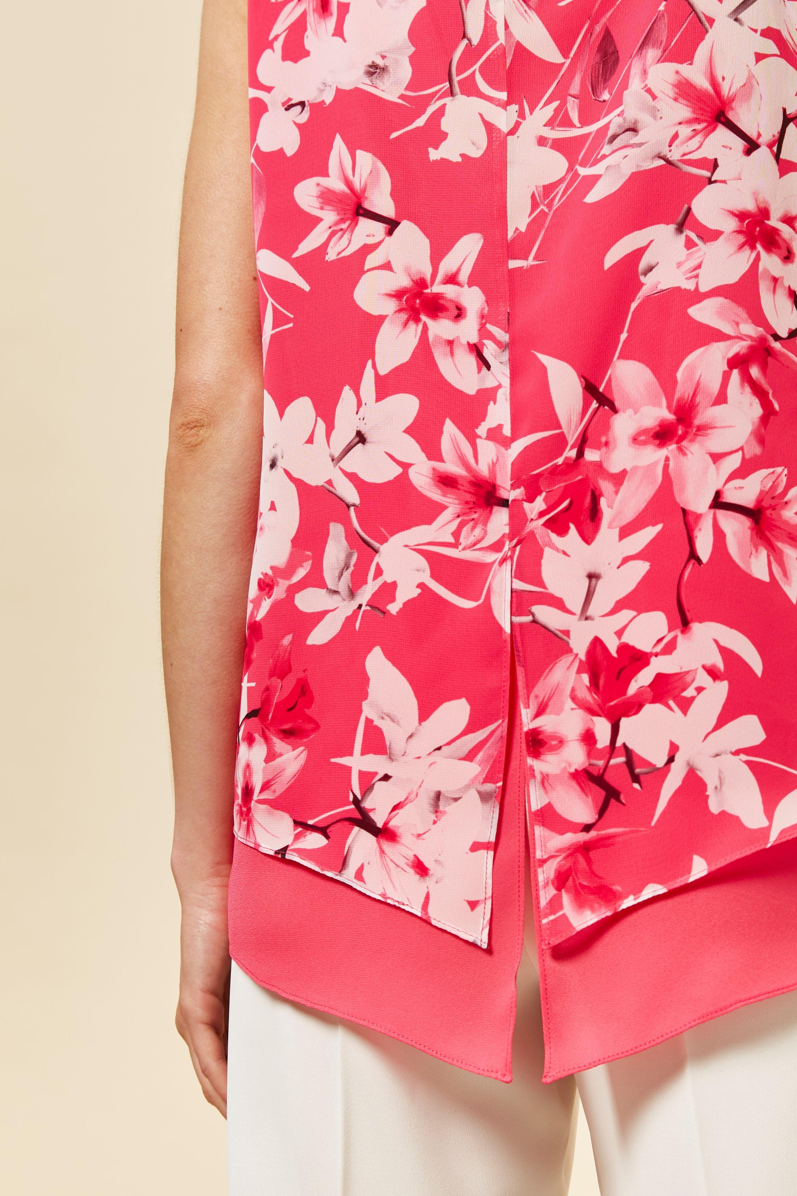 58a2d1783670 Wallis - Petite Pink Orchid Print Overlay Top - Lyst. View fullscreen