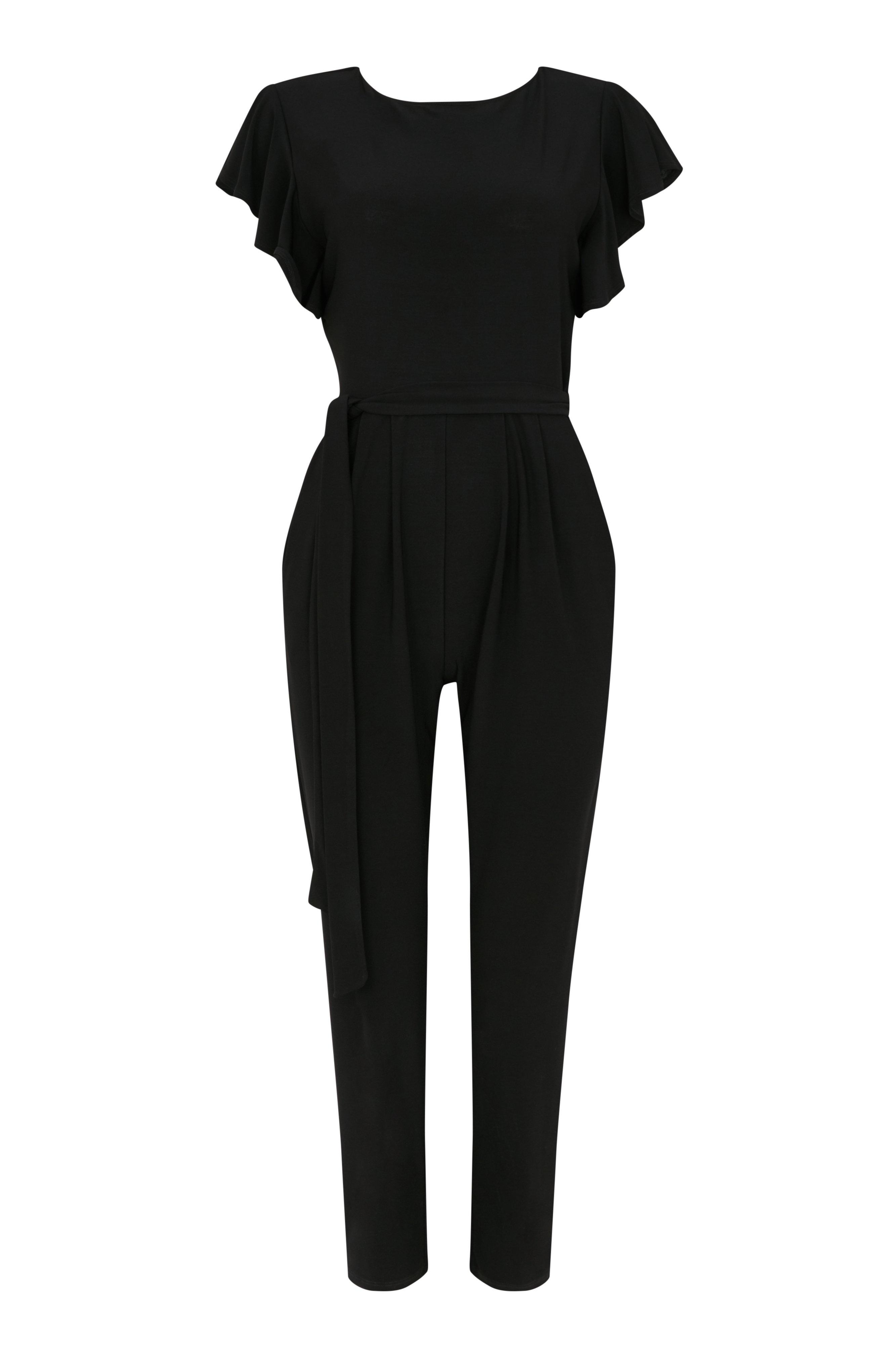 4033f96c7a Wallis - Petite Black Frill Belted Jumpsuit - Lyst. View fullscreen