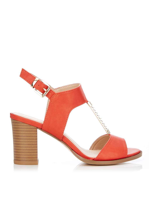 add1c3284bd65 Lyst - Wallis Orange Trim Heeled T-bar Sandal in Orange