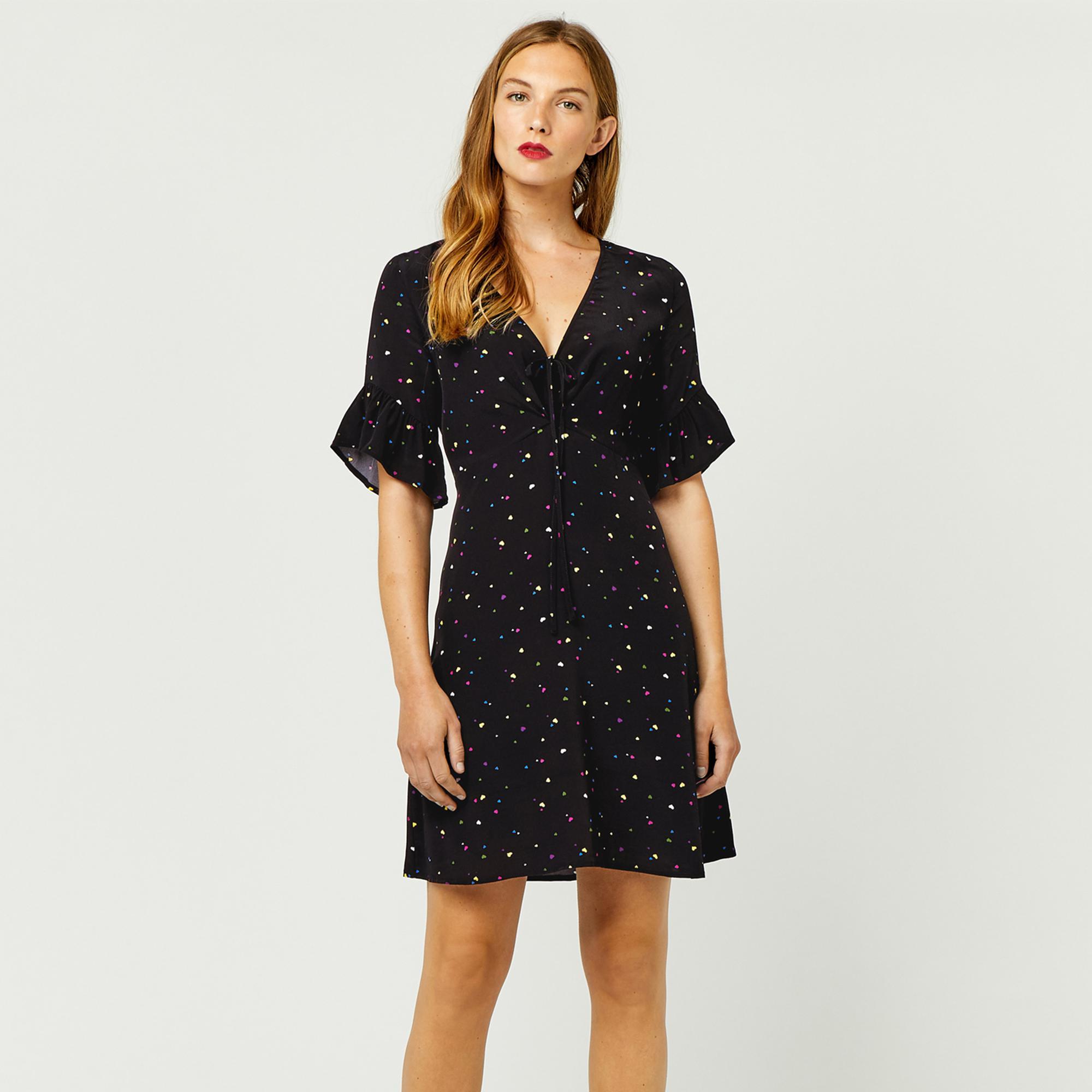 99344f47a9a2 Warehouse Heart Print Tea Dress in Black - Lyst