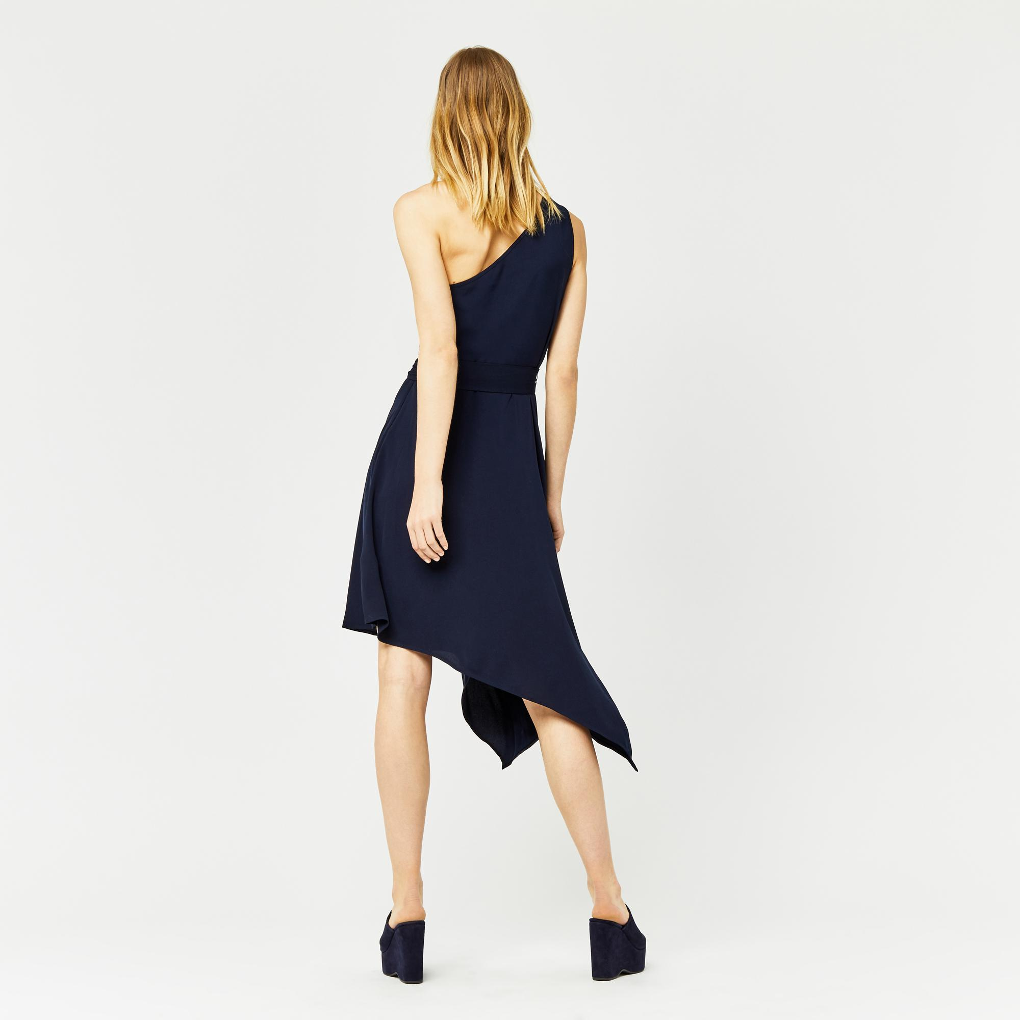 da8d6d74bee Warehouse One Shoulder Dress in Blue - Lyst