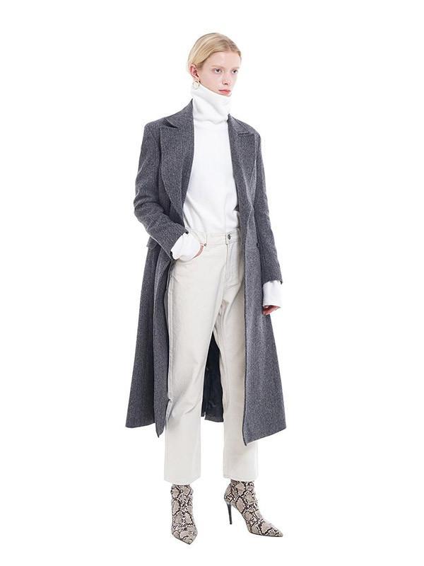 dca9b00718437 W Concept [womanlong Double Breasted Earl Coat Herringbone - Lyst