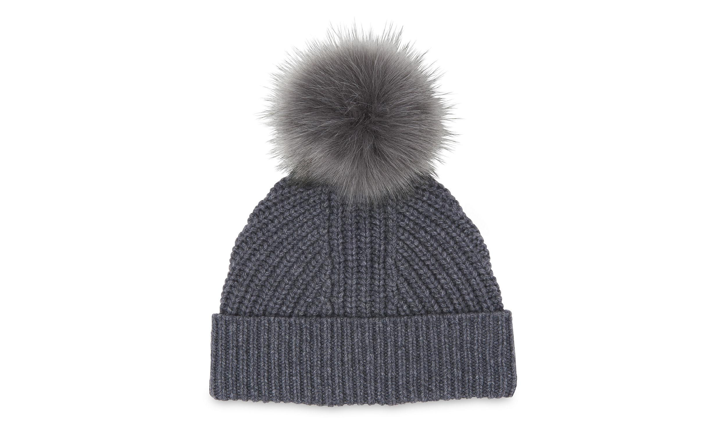 d29086c6191 Lyst - Whistles Chunky Marl Pom Hat in Gray