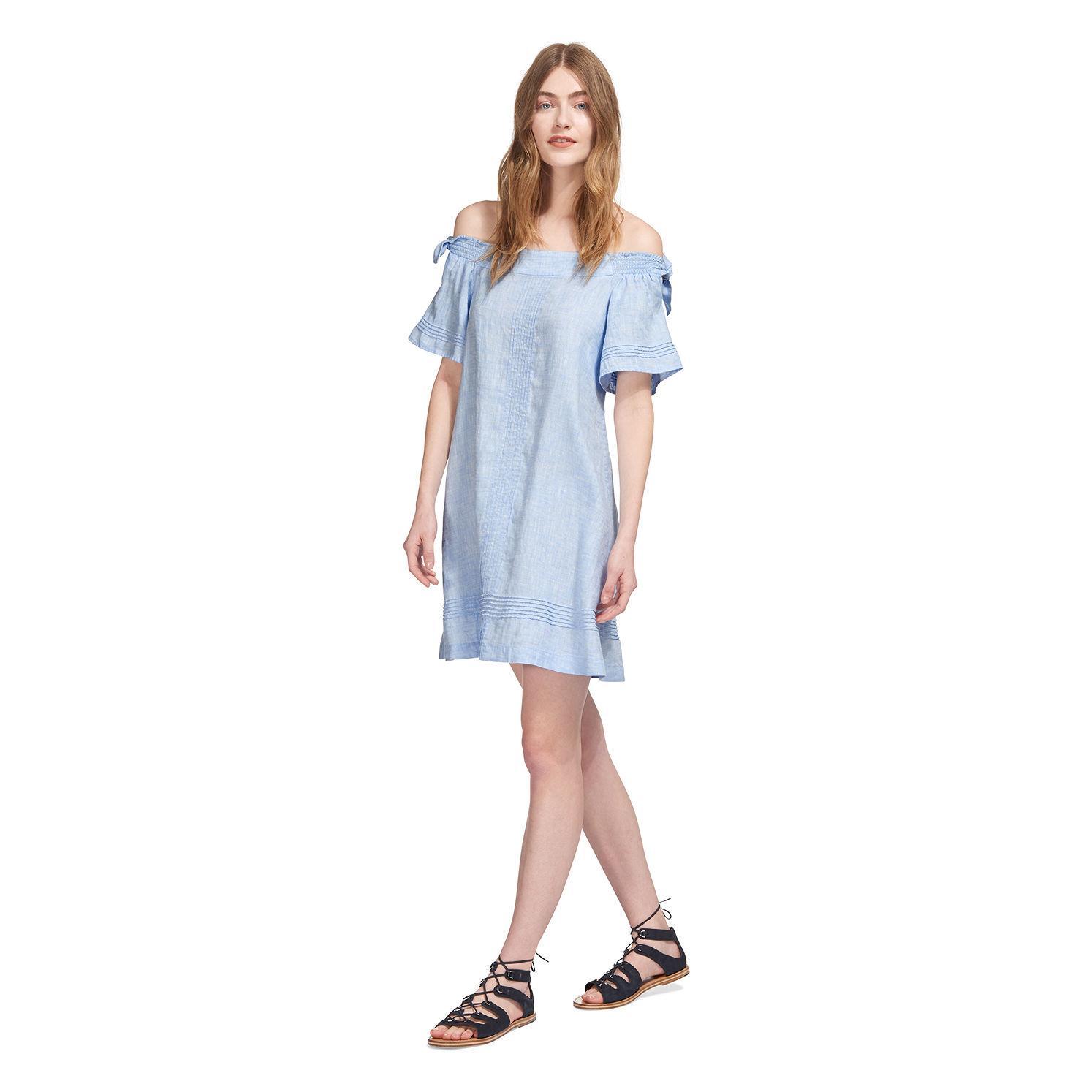 74ba89252a Lyst - Whistles Lila Tie Linen Bardot Dress in Blue
