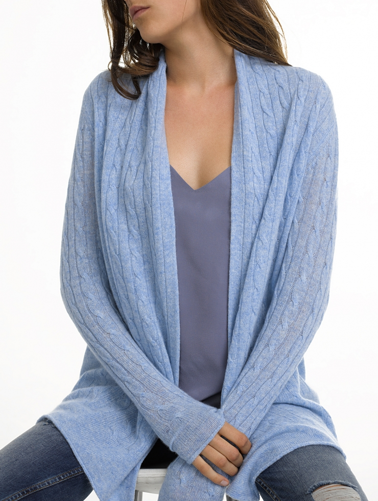 White + warren Cashmere Cable Cardigan in Blue (STONEWASH ...
