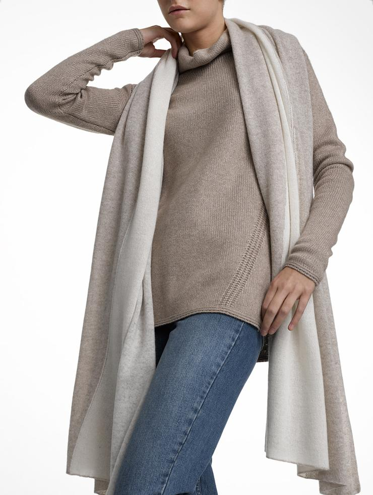 White + warren Cashmere Color Spliced Travel Wrap in Gray ...