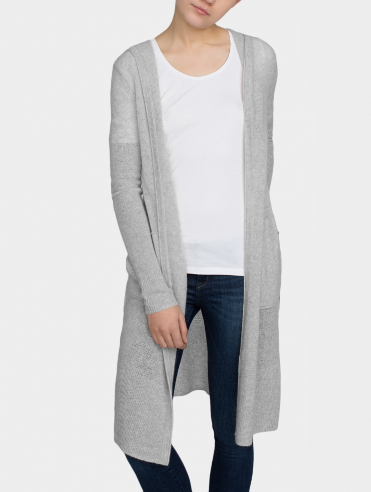 White   warren Cashmere Hooded Long Cardigan in Gray | Lyst