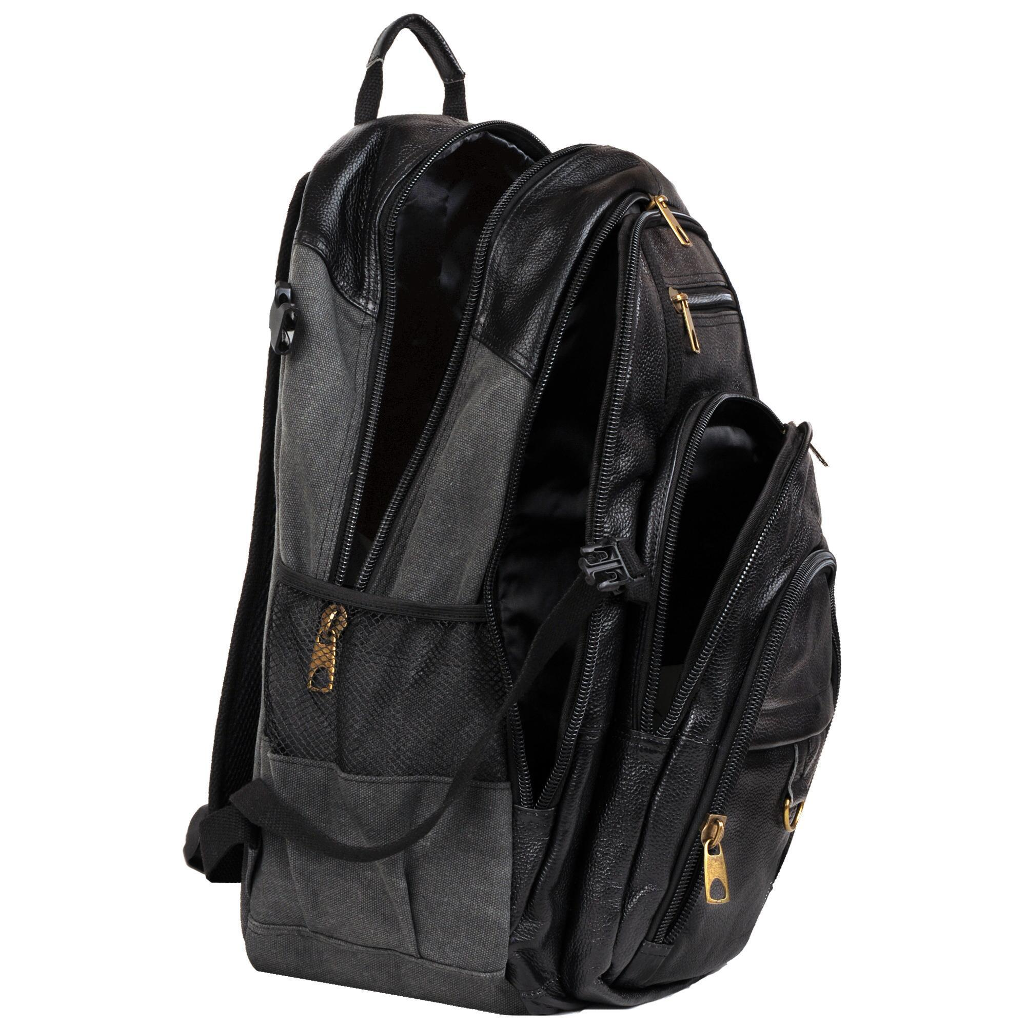 6a5edac3deb6 Wilsons Leather - Black Hunter Laptop Compatible Canvas leather Backpack  for Men - Lyst. View fullscreen