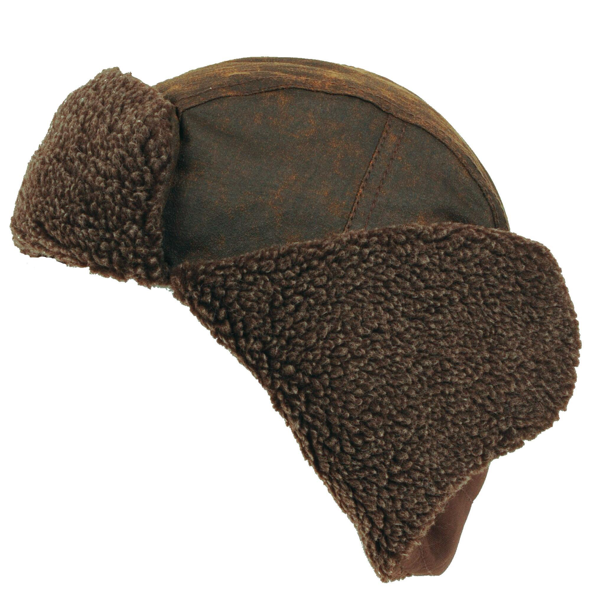 eff58537ff5ff Wilsons Leather - Brown Washed Canvas Trapper Hat W  Faux-sherpa for Men -.  View fullscreen