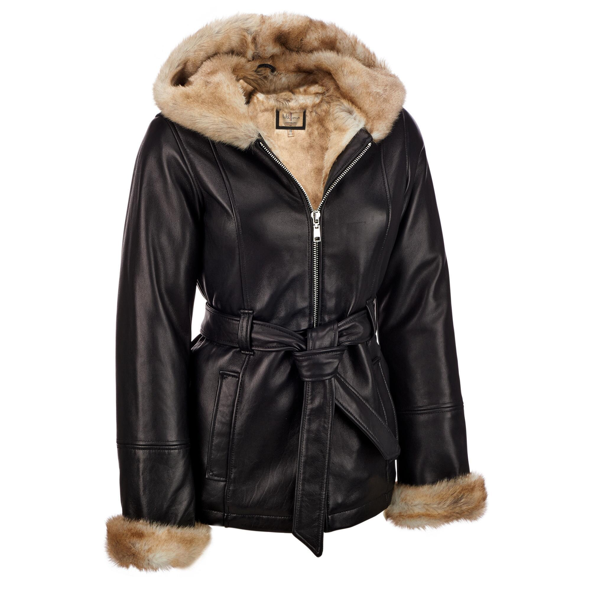 69d7ff6855f8c Wilsons Leather. Women s Black Plus Size Vintage Belted Leather Jacket W   Faux-fur Lining