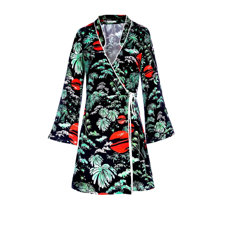 d042da71b48b RIXO London Iris Green Oriental Sky Mini Wrap Dress With Kimono ...