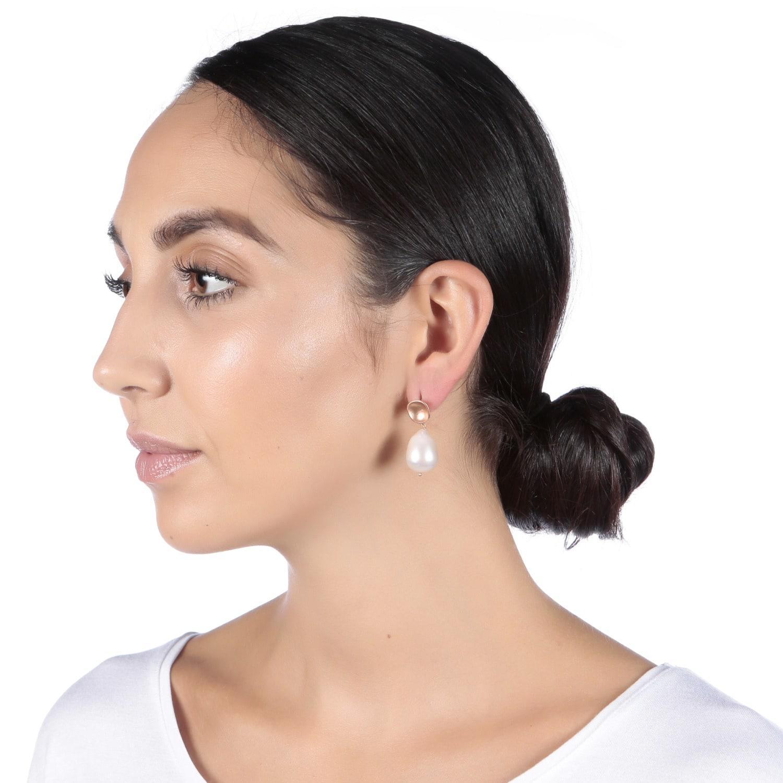 4afb1ea2d Carousel Jewels - Metallic Rose Gold Nugget & Pearl Earrings - Lyst. View  fullscreen