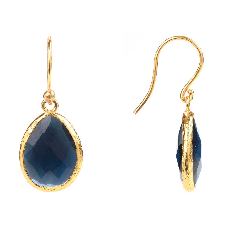 Latelita London Rose Gold Petite Drop Earring Sapphire Hydro YfqbgoW2JR