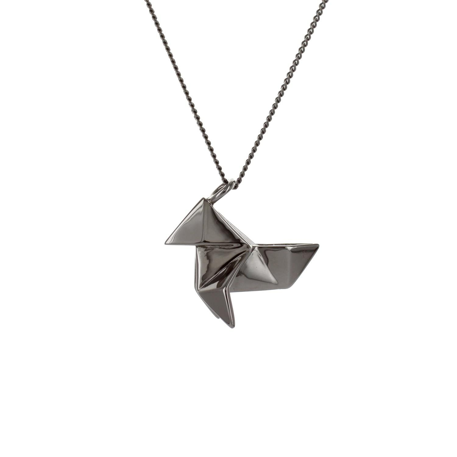 Origami Jewellery Sterling Silver Pink Gold Plated Boat Necklace Pbikp7