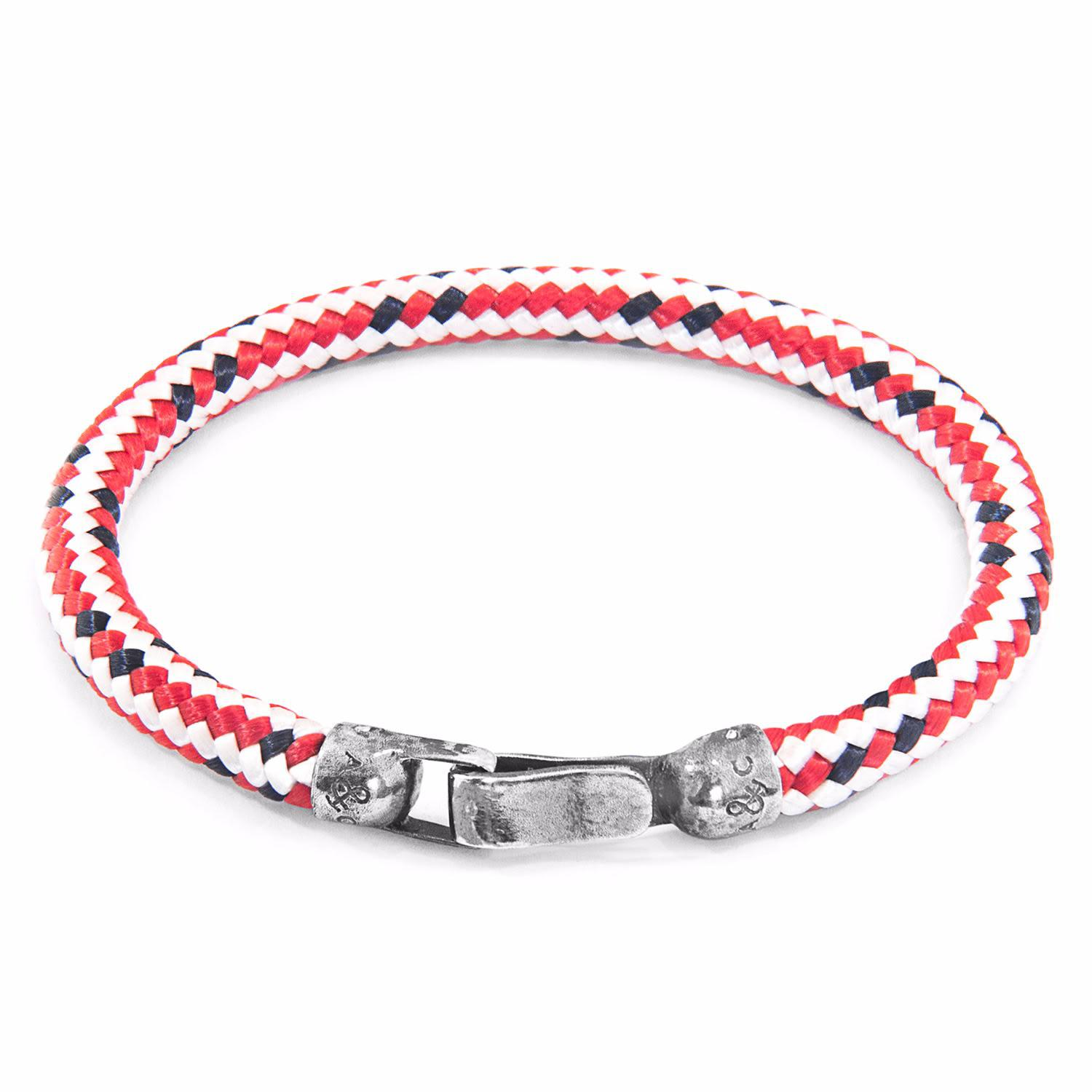 Silver Rope Bracelet: Anchor & Crew Red Dash Paignton Silver & Rope