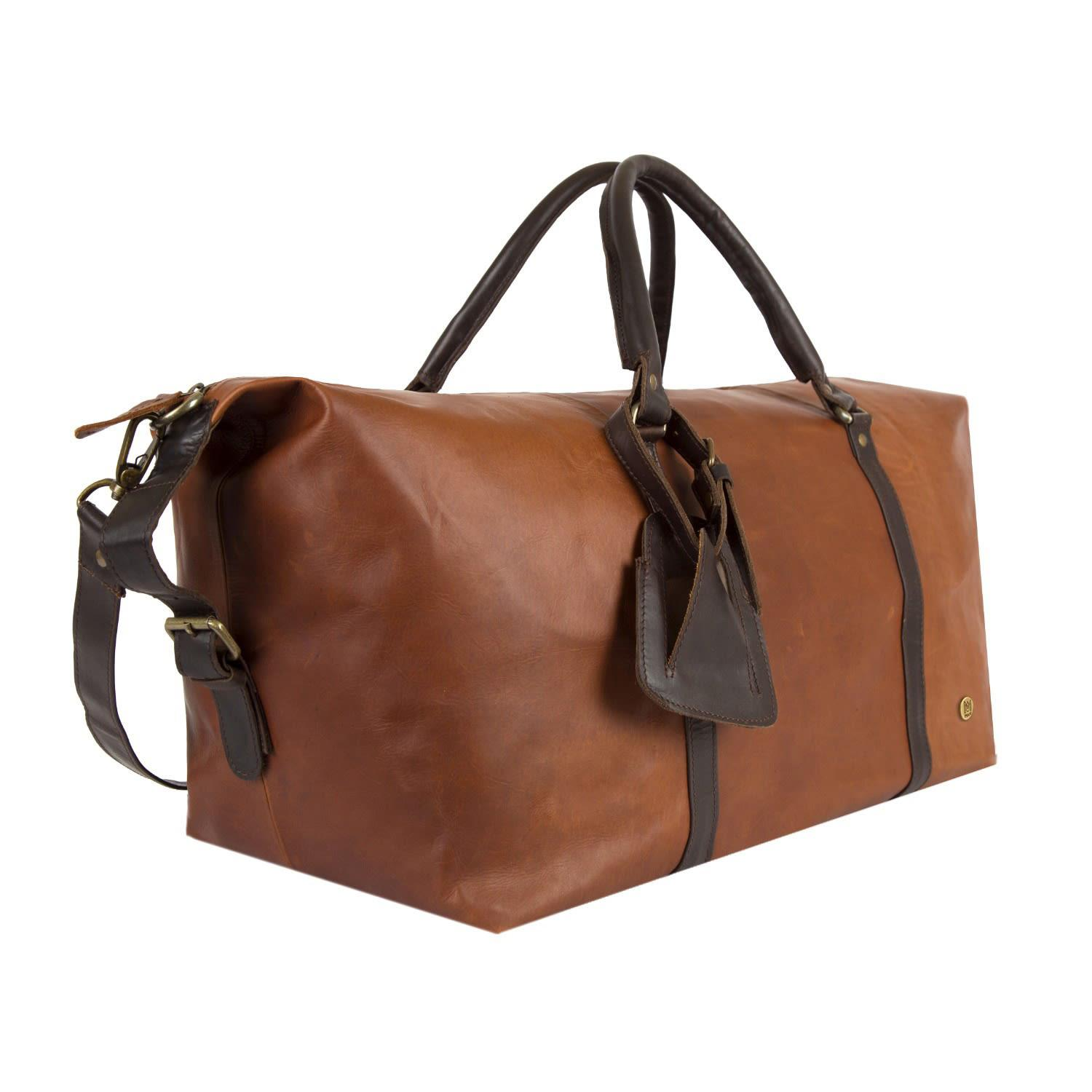 MAHI Leather - Leather Long Armada Duffle Large Weekend overnight Holdall  Bag In Vintage Brown. View fullscreen 9b7543afb1256