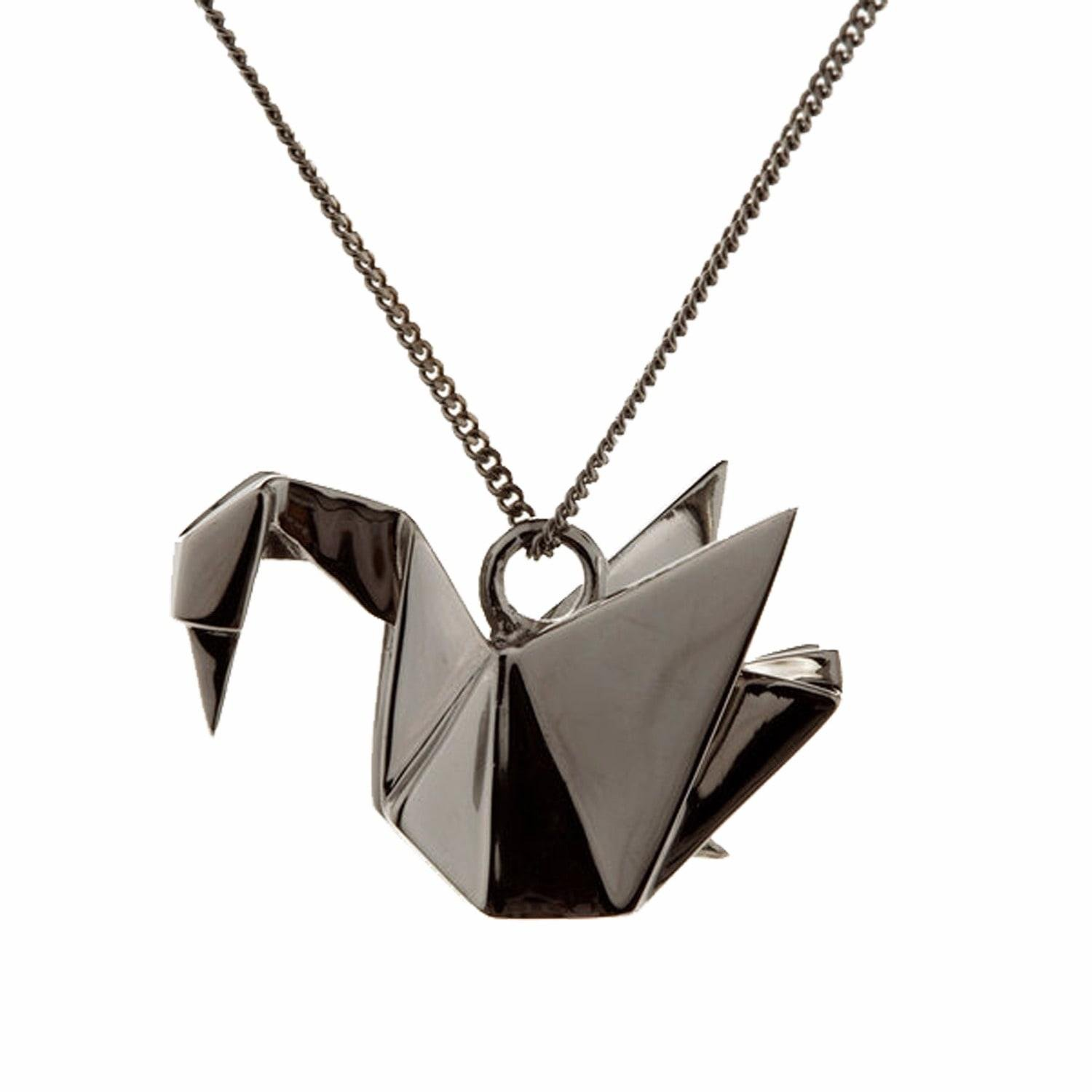 origami jewellery swan necklace sterling silver gun metal