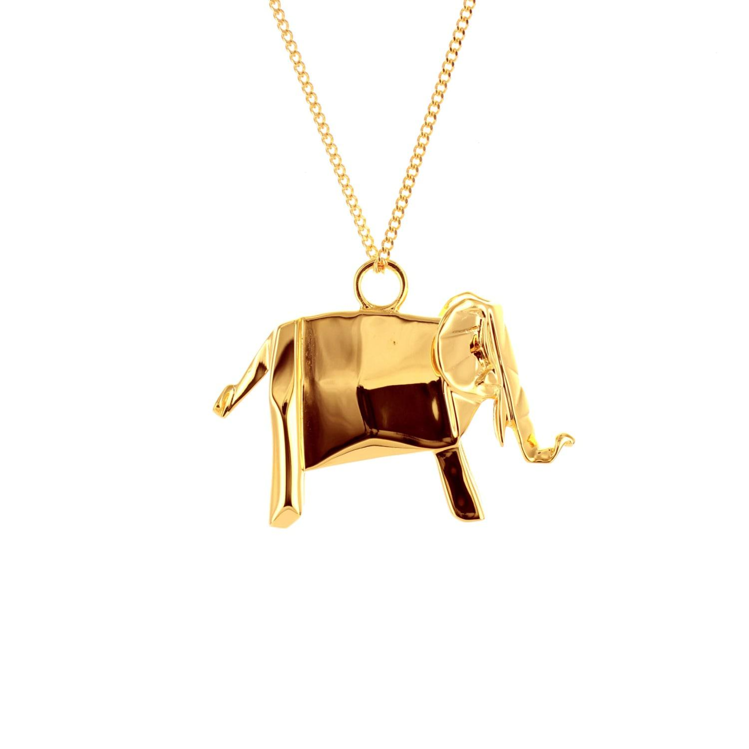 Origami jewellery elephant necklace gold in metallic save 22 lyst elephant necklace gold lyst view fullscreen aloadofball Images
