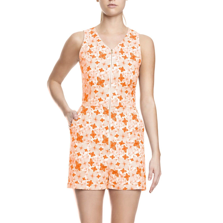 fe525517014d Lyst - Philosofée Tangerine Floral Print Romper Playsuit in Orange