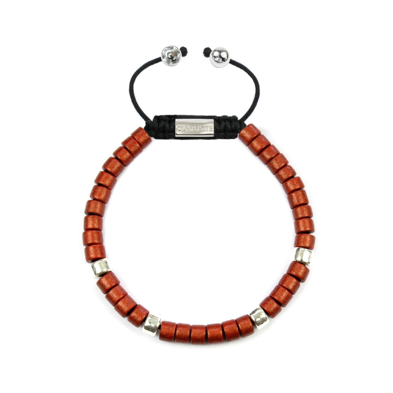 Clariste jewelry Men's Ceramic Bead Bracelet Red & Silver ...