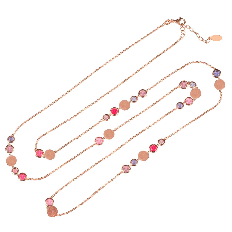 Latelita London Verona Gemstone Strand Necklace Rose Gold Pink Tourmaline DAwr2