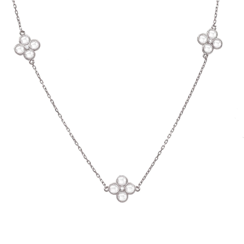 c2a8a138b Latelita - Metallic Long Chain Flower Clover White Quartz Necklace Silver -  Lyst. View fullscreen