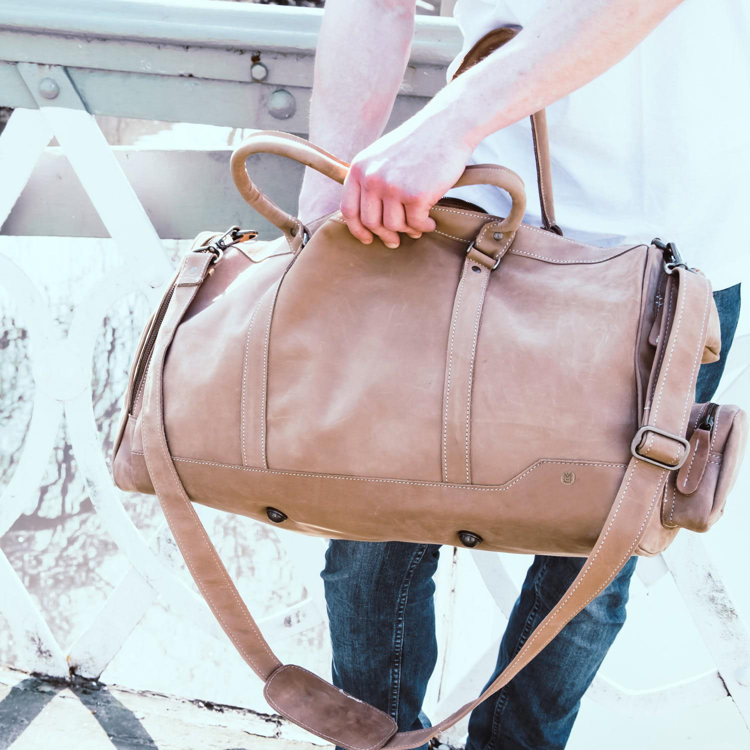 MAHI Leather - Brown Leather Columbus Holdall Duffle Weekend overnight Bag  In Vintage Cognac for. View fullscreen 918f53fe162b4